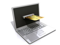 Laptop and credit card, E-commerce concept Stock Photos