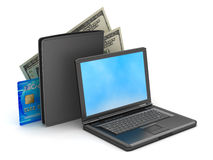 Laptop, credit card, wallet and bank notes royalty free stock images