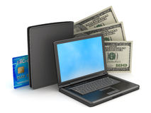 Laptop, credit card, wallet and bank notes royalty free stock photo