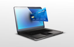 Laptop and credit card on white isolated background. Illustration of laptop and credit card on white isolated background Stock Photography