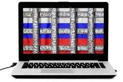 Laptop with crossed prison grate and a russian flag on the screen isolated on white background. Illustration of the law about disconnecting the Russian stock images