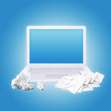 Laptop crumpled paper and envelopes Stock Photos