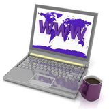 Laptop and cup Royalty Free Stock Photography