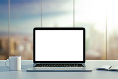 Laptop, cup and diary on table Royalty Free Stock Photos