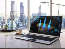 Laptop, cup on table in office architecture project concept Royalty Free Stock Photography