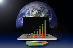 Laptop with currency graph. And world background Stock Photography