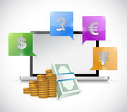 Laptop and currency symbols around Stock Images