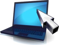 Laptop and cursor Royalty Free Stock Photos