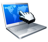 Laptop and cursor. Computer cursor touches the world map on the laptop screen Stock Photography