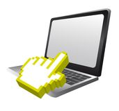Laptop with cursor hand Royalty Free Stock Photo
