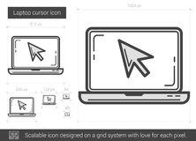 Laptop cursor line icon. Royalty Free Stock Image