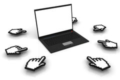 Laptop with cursors Stock Photos