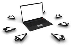 Laptop with cursors. 3D render Stock Image
