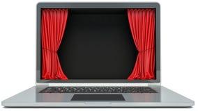 Laptop and curtain display Stock Photos