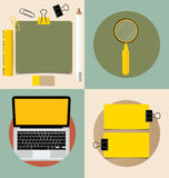 Laptop and Cute note papers, ready for your message. Vector illu Stock Images