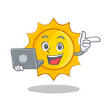 With laptop cute sun character cartoon. Vector illustration Royalty Free Stock Images