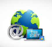 laptop cyber security world concept Royalty Free Stock Photography