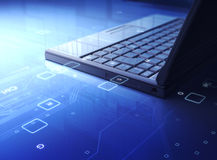 Laptop. 3d Laptop and circuit board Royalty Free Stock Photo
