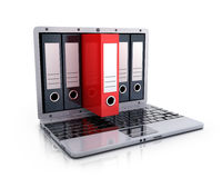Laptop 3d and files. Laptop 3d and red file Royalty Free Stock Photos