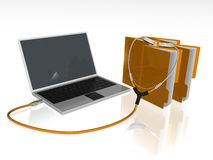 Laptop. 3d illustration of  rj45 network cable and laptop Royalty Free Stock Photos