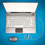 Laptop 3D illustrator. With wire and mouse vector illustration