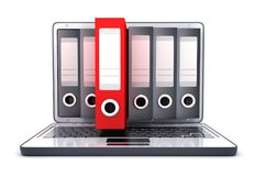Laptop 3d and many files and one red file stock illustration