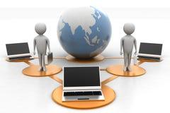 Laptop 3d mensen rond bol Royalty-vrije Stock Afbeelding