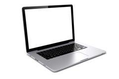 Laptop 3d mit leerem Bildschirm Stockfotografie