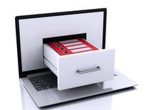Laptop 3d mit Ringmappen Laptop und CAB-Datei mit Ringmappen Stockfotos
