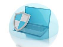 Laptop 3d mit Schild Internet-Sicherheit, Antiviruskonzept Lizenzfreie Stockfotografie