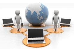 Laptop 3d people around globe Royalty Free Stock Image