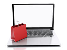 Laptop 3d und bunte Einkaufstaschen Hände mit Kreditkarte auf Computertastatur Lizenzfreie Stockfotos
