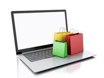 Laptop 3d und bunte Einkaufstaschen Hände mit Kreditkarte auf Computertastatur Stockfotografie