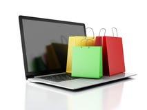 Laptop 3d und bunte Einkaufstaschen Hände mit Kreditkarte auf Computertastatur Lizenzfreie Stockfotografie