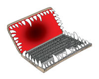 Laptop is danger Royalty Free Stock Image