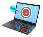Laptop with dart on house target isolated over white. Royalty Free Stock Photo