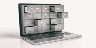 Laptop Data Storage Concept. 3d Illustration Royalty Free Stock Photography