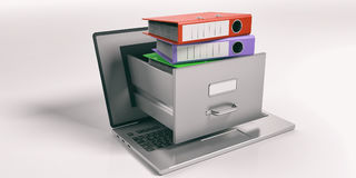 Laptop data storage concept. 3d illustration. Laptop data storage. Filing cabinet drawer out of a laptop screen. 3d illustration Royalty Free Stock Photo