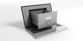 Laptop data storage concept. 3d illustration. Laptop data storage. Filing cabinet drawer out of a laptop screen. 3d illustration Royalty Free Stock Photography