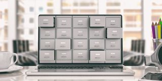 Laptop data storage. Filing cabinet on a laptop screen. 3d illustration. Computer data storage concept. Filing cabinet on a laptop screen. 3d illustration Stock Photography