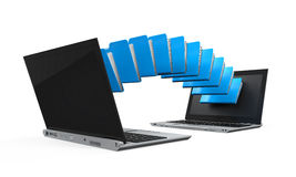 Laptop Data Transferring. Isolated on white background. 3D render Royalty Free Stock Image