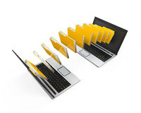 Laptop Data Transferring. Isolated on white background. 3D render Royalty Free Stock Photography