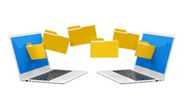 Laptop Data Transferring Isolated. On white background. 3D render Royalty Free Stock Photos