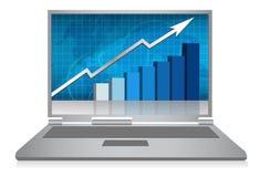 Laptop de groeigrafiek/vector Royalty-vrije Stock Foto's