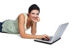 Laptop de Vrouw van de Computer Stock Foto's