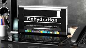 Laptop with Dehydration information on screen Stock Photo