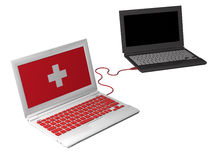 Laptop delivers first aid. First aid laptop connected to another laptop Royalty Free Stock Photo
