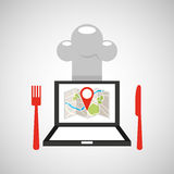 Laptop delivery food app Stock Photography