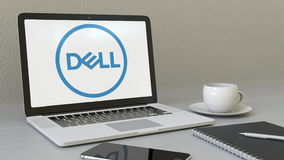 Laptop with Dell Inc. logo on the screen. Modern workplace conceptual editorial 3D rendering Royalty Free Stock Photo