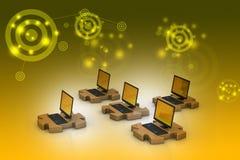 Laptop in den Puzzlespielen Lizenzfreie Stockbilder